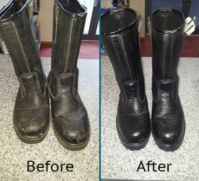 Boots oiled and polished.